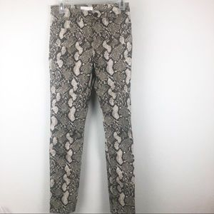 H&M Snake Print Brown Tan Skinny Pants